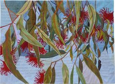 'Eucalyptus Spectacular' is a contemporary quilted textile by Ruth de Vos. The artwork is hand-dyed, machine-pieced and machine-quilted by the artist. (c) Ruth de Vos 2008 Size: 110 cm H by 151 cm W Materials: procion fabric dye, textile paint, cotton homespun, cotton batting Techniques: hand-dyed, screen-printed, machine pieced, machine...
