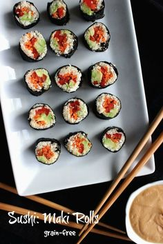 Sushi Maki Rolls are easy, light, raw and there are no grains.  So many wonderful tasty flavors rolled into one bite.  Dip it in peanut sauce for even more happiness.