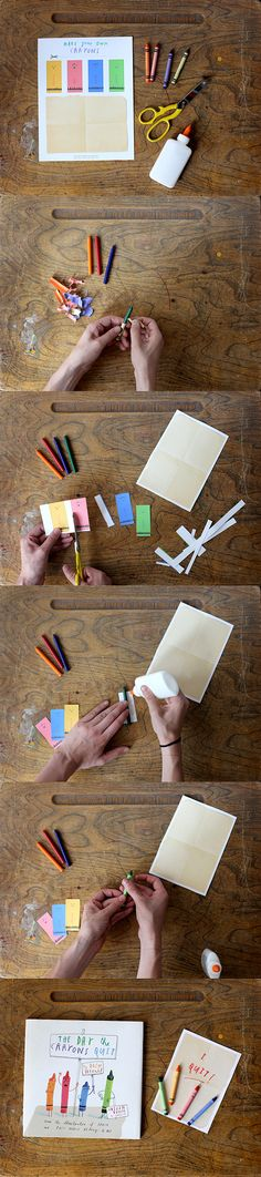 Download our free activity sheet at ojstuff.com and follow these photo instructions to make the crayons characters come to life! #TheDayTheCrayonsQuit #OliverJeffers