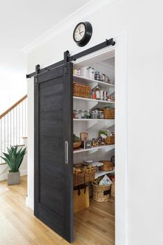 Pantry Barn Door Black Barn Door The pantry barn door was painted with Old Fashi. - Pantry Barn Door Black Barn Door The pantry barn door was painted with Old Fashioned Milk Paint, co - Küchen Design, Home Design Decor, House Design, Design Ideas, Design Projects, Design Trends, Kitchen Pantry Design, Kitchen Decor, Kitchen Pantries