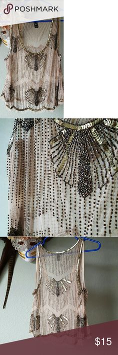 Beaded tank top Nude