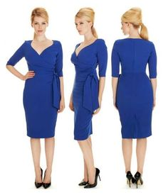 Got a case of the Monday blues? Our Hourglass Cobalt 3/4 Sleeve Twill Dress will be sure to brighten up your day #fashion #style #elegant #chic #classic #sophisticated #retro #vintage #modern #contemporary #AW15 #cobalt #theprettydress #theprettydresscompany
