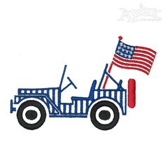 US Flag Jeep Embroidery Design