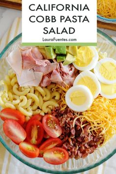 This Cobb Pasta Salad is loaded with bacon, deli cuts, cheese, avocado, and tomatoes. The perfect summer dish for picnic lunches or dinner. #pasta #salad Healthy Pasta Salad, Easy Pasta Salad Recipe, Salad Recipes Video, Pasta Recipes, Beef Recipes, Dinner Recipes, Picnic Lunches, Box Lunches, School Lunches