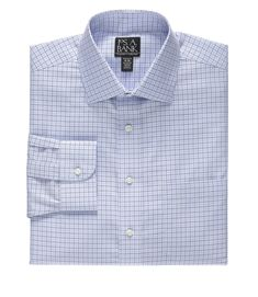 Traveler Collection Tailored Fit Spread Collar Mini-Grid Dress Shirt -