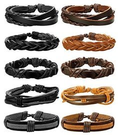 dbb336f731 FIBO STEEL 10-12 Pcs Braided Leather Bracelets for Men Women Cuff Bracelet,Adjustable.  Beautiful Cool Jewelry | Best and beautiful jewelry