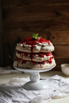 Peanut butter  jelly pavlova. I was just thinking about a pavlova with peanut butter, so I decided to Google if anybody ever tried something similar.