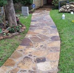 sealed flagstone walkway done by a DFW Masonry Contractor Backyard Walkway, Flagstone Walkway, Outdoor Walkway, Brick Walkway, Front Yard Landscaping, Walkway Ideas, Patio Ideas, Landscaping Ideas, Concrete Patios