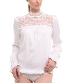 Another great find on #zulily! White Lace-Panel Mock Neck Bodysuit #zulilyfinds