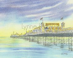 Brighton pier #mounted print seascape watercolour art england #britain #seaside,  View more on the LINK: http://www.zeppy.io/product/gb/2/252730436362/