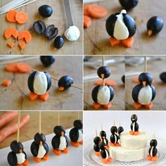 Cream Cheese and Olive Penguins
