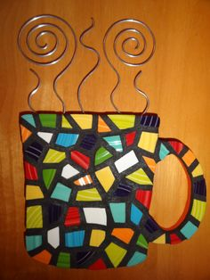 Mosaic Coffee Mug cutout with steam kitchen art por MORETHANMOSAICS, $80.00