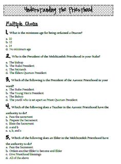 Here is the Priesthood quiz There are 38 questions. This would make a great Family Home Evening, or a good study for your journals, or it would be great for a Young Women or Men's lesson Yw Handouts, Mutual Activities, Family Home Evening Lessons, Young Women Lessons, Fhe Lessons, Lds Church, The Secret Book, Sunday School, Jesus Christ