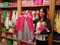 Our NY Administrative/Sales assistant Melisa, and the daisy print pleated dress and sparkle button cardigan - and matching outfit for dolly!