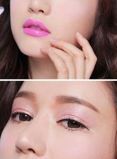 korean pink eyes and lips