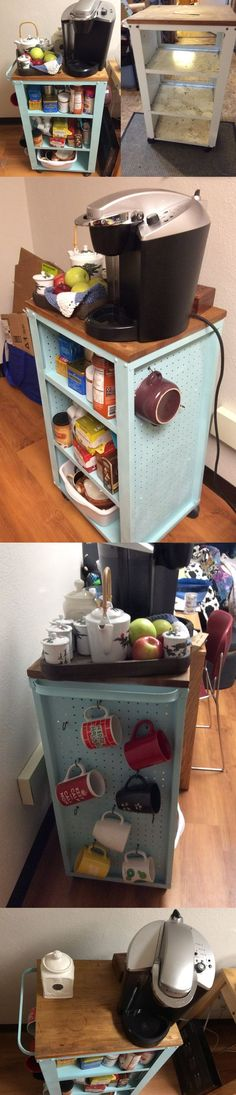 DIY Dorm room cart, before and after, kitchen cart, peg board #mint #mugs  #coffee #organization #storage