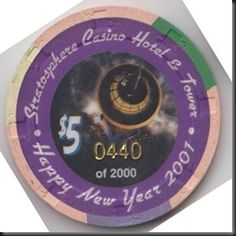 This chip was issued by Stratosphere Casino Hotel & Tower in Las Vegas to commemorate New Year's 2001.  This is a limited editon chip numbered 0440 of 2000.