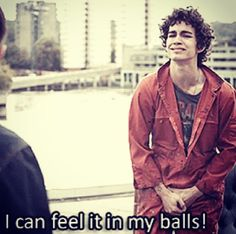 misfits, Nathan young has a power, that's where he can feel it. Robert Sheehan