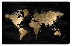 Black and gold world map. More