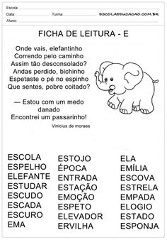 Ficha de Leitura Letra E - Elefante Portuguese Lessons, Sistema Solar, Myla, Spanish Class, Professor, Homeschool, Classroom, Education, Reading Activities