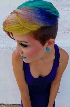 Short rainbow dyed hair