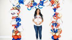 Baseball theme balloon arch Balloon Arch, Balloons, String Of Pearls, Baseball, Globes, Balloon, Hot Air Balloons