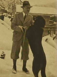 Hitler and dog friend on the mountain. The only true friends he had in his life.