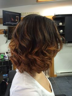 Golden copper ombre on short hair !