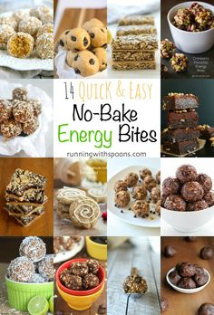 14 Quick and Easy Energy Bites -- so many delicious variations of these simple snacks! || runningwithspoons.com
