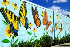 Lovely butterfly mural by artist Chip Wilkinson in South Norfolk on the outside wall of the Portlock Galleries Murals Street Art, Art Mural, Wall Murals, Norfolk, Outdoor Art, Outdoor Walls, Garden Fence Art, Walled Garden, Yard Art