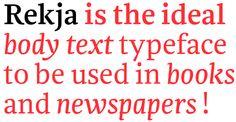 Rekja —The ideal bodytext typeface for books! by NouvelleNoire , via Behance