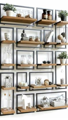 Astonishing Cool Tips: Floating Shelf Bedside long floating shelves cabinets.Floating Shelf Placement Sinks floating shelves different sizes glasses.Floating Shelves Over Toilet Light Fixtures. More from my Rustic Industrial Wood Pipe Shelf Decor, Home Diy, Living Design, Interior, Home Decor, House Interior, Room Decor, Home Deco, Interior Design Living Room Warm
