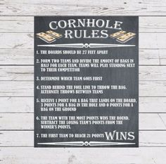 Informations About Yard Games Cornhole Sign Poster Cornhole Rules Outdoor Par