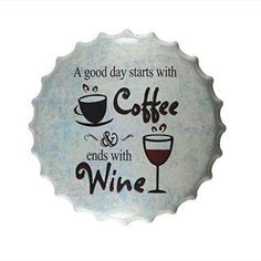 This is truly a Rich, Unique, and Bold Wine Wall Art Decor piece.  admittedly i love all types of wine wall art decor especially wine wall clocks, metal wall art,  wine grapes wall art decor. As these provide great kitchen decorating inspiration making wine wall art my favorite type of kitchen wall art.  DL-Coffee and Wine Bottle Cap Metal Painting Vintage tin sign Pub Family Gift Home wall Decor