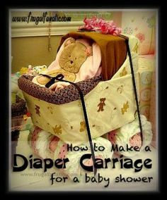 Make a cute diaper baby carriage for your next baby shower