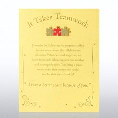 Character Pin - It Takes Teamwork - Gold Card - Baudville Employee Appreciation Gifts, Appreciation Quotes, Employee Gifts, Teacher Morale, Staff Morale, Thanksgiving Note, Incentives For Employees, Team Gifts, Staff Gifts