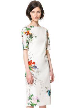 Ink Floral Print Short Sleeve Dress