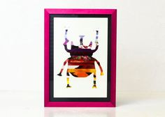 Beetle Bug Silhouette Art Collage Recycled Paper Colorful Bug Wall Art