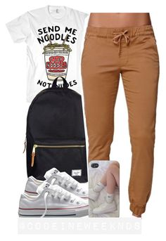 """""""8:29:15"""" by codeineweeknds ❤ liked on Polyvore featuring Herschel Supply Co., Converse and Bullhead Denim Co."""