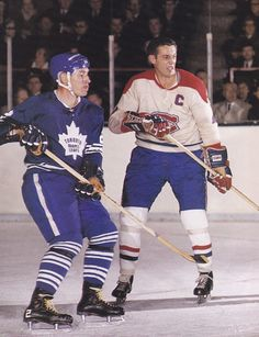 Pierre Pilote, Toronto Maple Leafs and Jean Beliveau, Montreal Canadiens-- Old Time Hockey Hockey Shot, Ice Hockey, Montreal Canadiens, Hockey Highlights, Maple Leafs Hockey, Hockey Boards, Look At My, Hockey Games, National Hockey League