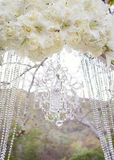 Want a mini crystal chandelier for the arbour on the hill/blueberry field. With crystal garland and ribbon (Glittering and flowing) Wedding Altars, Diy Wedding, Wedding Events, Wedding Flowers, Dream Wedding, Wedding Day, Wedding Stuff, Luxe Wedding, Wedding Linens
