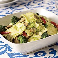 Ravioli with Pesto Recipe - Subbing broccoli for some of the oil in this homemade pesto adds flavor and body while slashing fat.