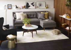 The Scandinavian style: we look for furniture with timeless lines that guarantee longevity and we favor sustainable materials. Photo: West E . Living Room Grey, Living Room Sofa, Apartment Living, Home And Living, Home Salon, Room Inspiration, Living Room Designs, West Elm, Sweet Home