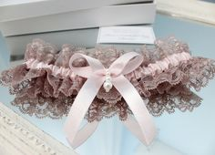 gray lace pale pink garter pink gray garter pink by INVITESTORE