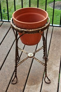 old stool - remove seat - replace with pot