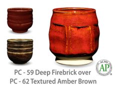 AMACO Potter's Choice layered glazes PC-62 Textured Amber Brown and PC-59 Deep Firebrick.