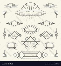 Linear Design Style Art Deco Style Line and Geometric Labels and Badges Monochrome royalty-free stock vector art Estilo Art Deco, Arte Art Deco, Moda Art Deco, Art Deco Logo, Deco Font, Art Deco Typography, Art Deco Bar, 1920s Art Deco, Art Nouveau