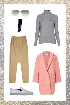 Your Holiday-Outfit-Idea Handbook #refinery29  http://www.refinery29.com/best-holiday-outfits#slide8  Topshop Ribbed Turtleneck Sweater, $58, available at Nordstrom; Front Row Trousers with Split Skirt, $68, available at Front Row; Oliver Peoples Kempner Titanium Aviator Sunglasses, $365, available at Bergdorf Goodman; Ganni Coat, $347.95, available at Ganni; Common Projects Metallic Slip-On Sneakers, $269, available at Barneys New York; Julep Char, $14, available at Julep.