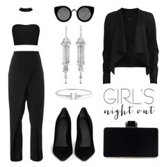 """Style Me: #GirlsNightOut"" by eva-jez ❤ liked on Polyvore featuring Ombradifoglia, Alexander Wang, VILA, Tiffany & Co., Shay, Quay and girlsnightout"