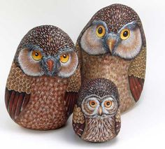 owl family painted on rocks